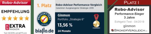 Ginmon Auszeichnungen als Testsieger Robo Advisor