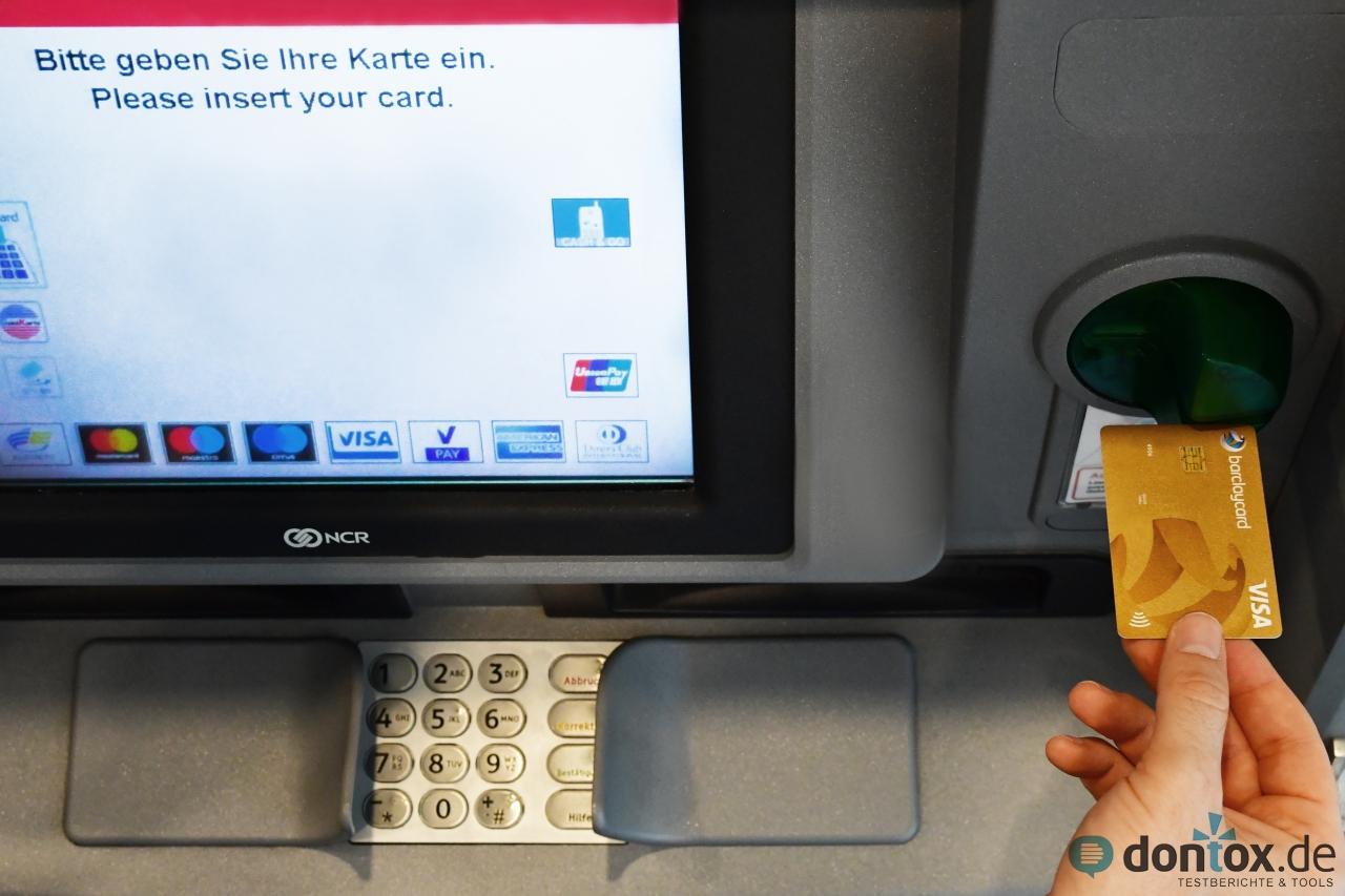 Barclaycard VISA Kreditkarte: Geld abheben am Geldautomaten