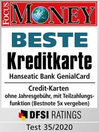 GenialCard: Beste Kreditkarte - Testsiegel Focus Money 35/2020
