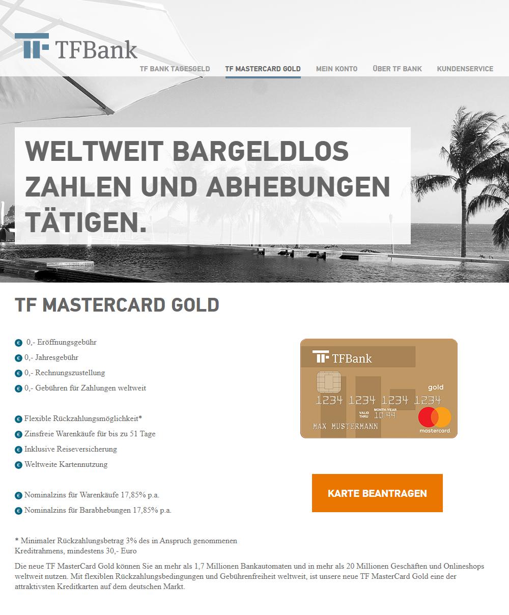 TF Bank Mastercard Gold: Gebührenfreien Kreditkarte