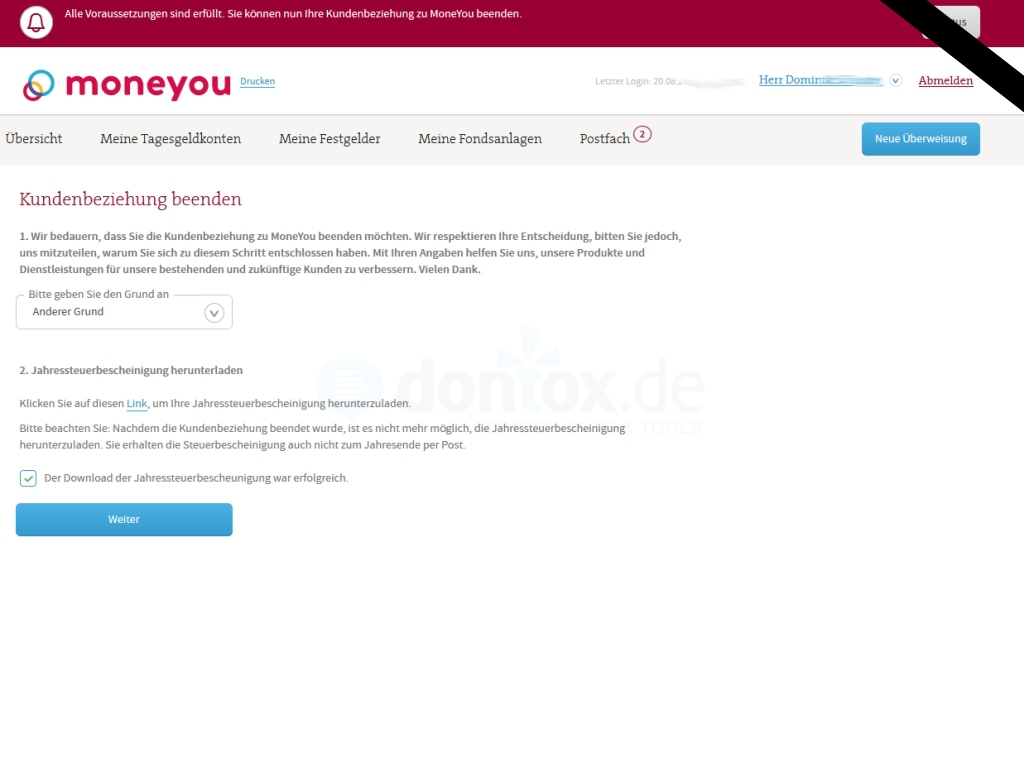 Moneyou wird beendet: Konto schließen - Schritt 5