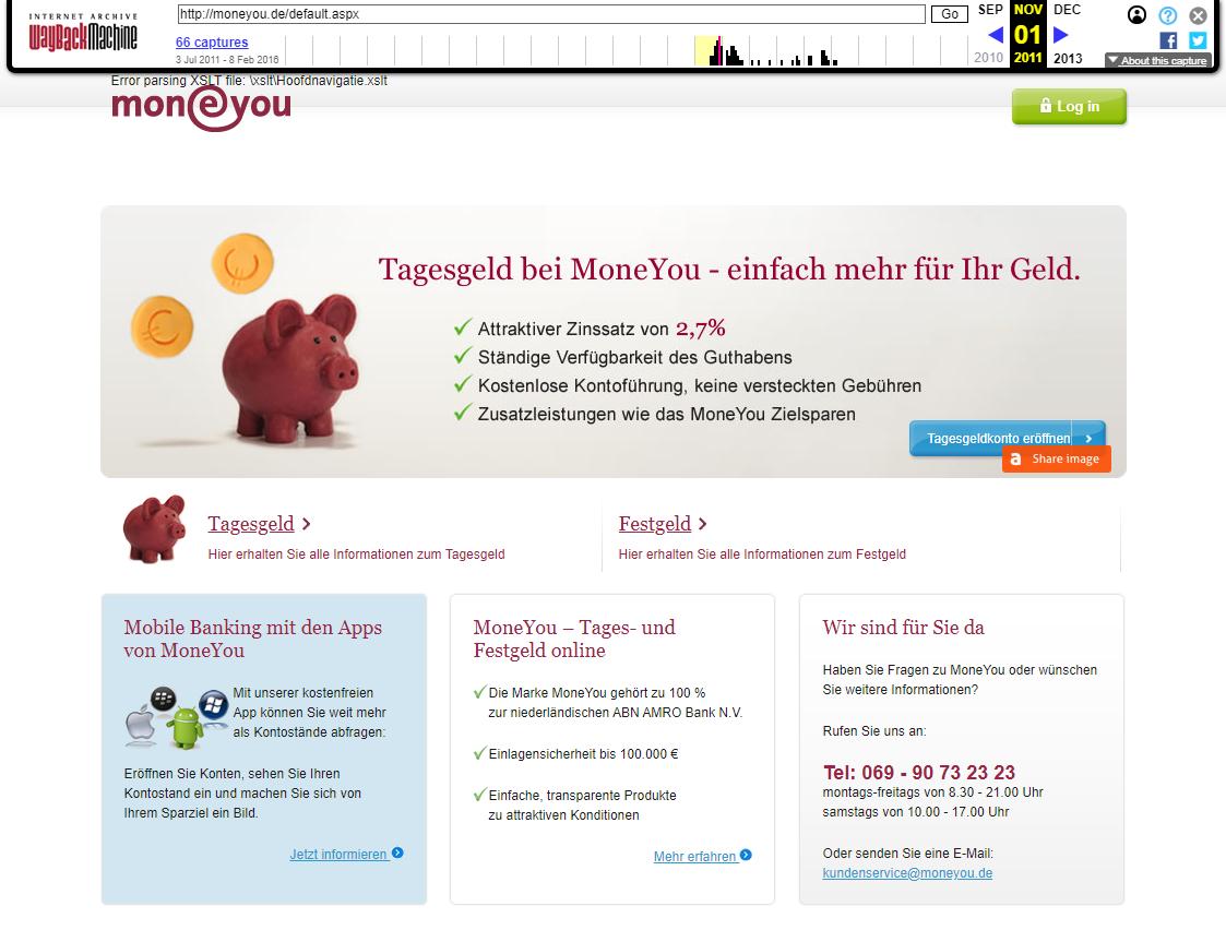 moneyou Screenshot 2011: Tagesgeld- und Festgeld
