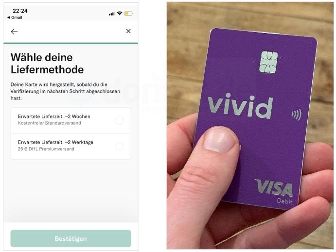Vivid Money Debitkarte aus Metall