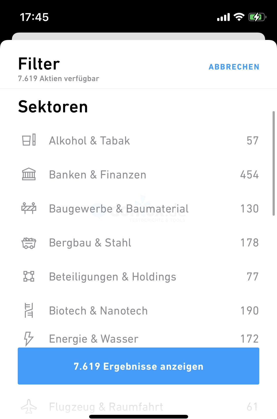 Trade Republic: Aktien nach Sektoren finden in der Trading App