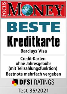 Testsiegel Focus Money: Beste Kreditkarte 35/2021 - Barclays VISA